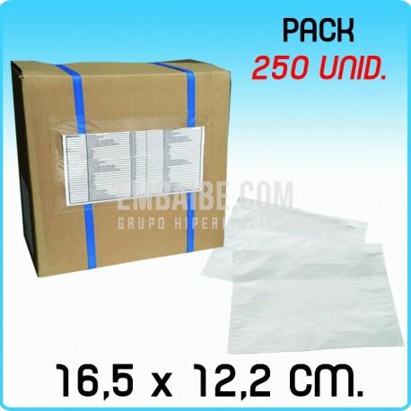250 Sobres portadocumentos Transp. 16,5x12,2cm