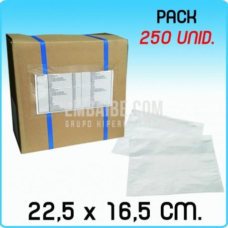 250 Sobres portadocumentos Transp. 22,5x16,5cm