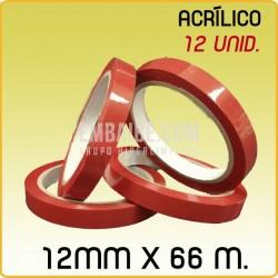 12 Rollos cinta adhesiva acrílico roja 12mmx66m