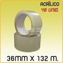48 Rollos cinta adhesiva acrílico transparente 36mmx132m