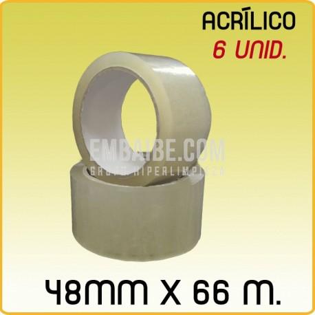 6 Rollos cinta adhesiva acrIlico transparente 48mmx66m