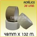 36 Rollos cinta adhesiva acrílico 48mmx132m