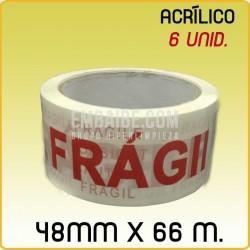 6 Rollos cinta adhesiva acrílico FRÁGIL 48mmx66m