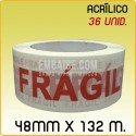 36 Rollos cinta adhesiva acrílico FRÁGIL 48mmx132m