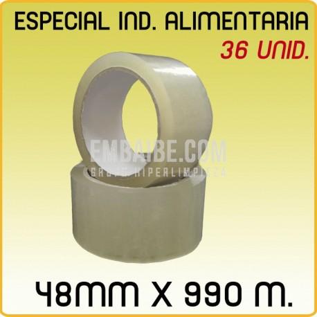 36 Rollos cinta adhesiva acrílico CONGELADO 48mmx990