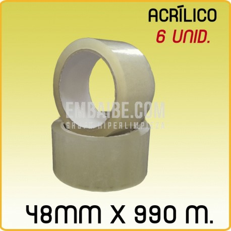 6 Rollos cinta adhesiva acrílico transparente 48mmx990m
