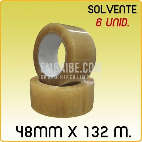 6 Rollos cinta adhesiva solvente transparente 48mmx132m