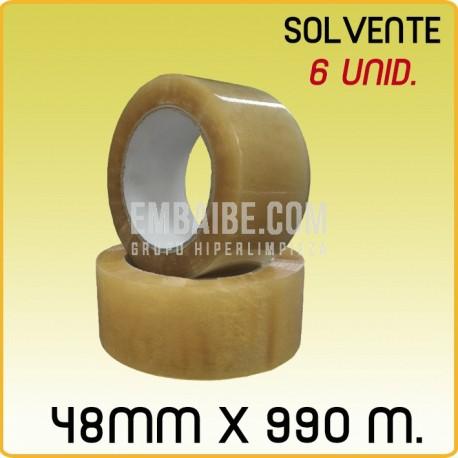 6 Rollos cinta adhesiva solvente transparente 48mmx990m