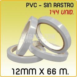 144 Rollos cinta adhesiva solvente PVC blanca 12mmx66m