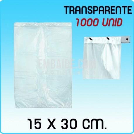 1000 bolsas frutería block transparente 15x30cm
