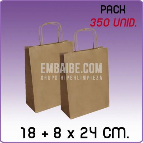 350 Bolsas papel regalo kraft 18+8x24cm