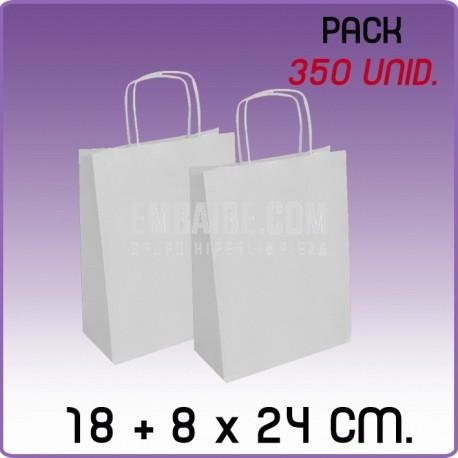 350 Bolsas papel regalo blanco 18+8x24cm