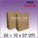 300 Bolsas papel regalo kraft 22+10x27cm