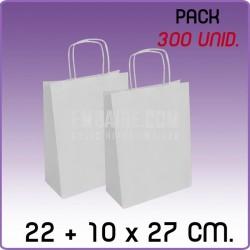 300 Bolsas papel regalo blanco 22+10x27cm