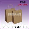 250 Bolsas papel regalo kraft 24+11x32cm