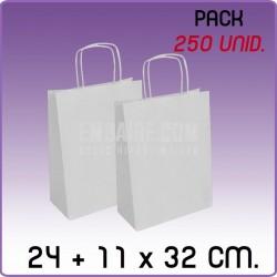 250 Bolsas papel regalo blanco 24+11x32cm