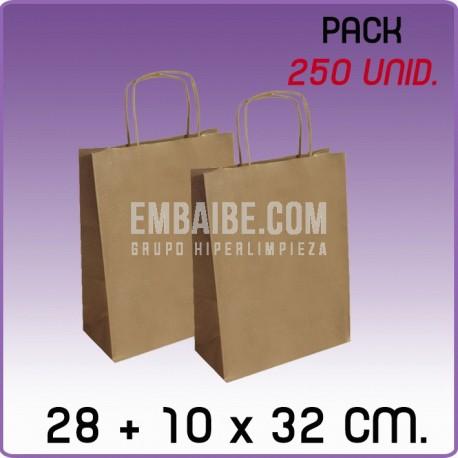 250 Bolsas papel regalo kraft 28+10x32cm