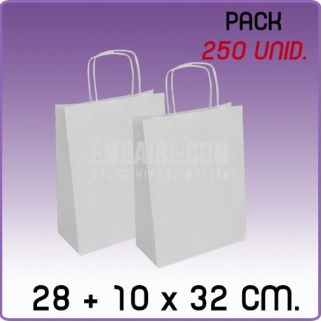 250 Bolsas papel regalo blanco 28+10x32cm