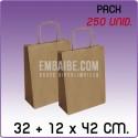 250 Bolsas papel regalo kraft 32+12x42cm