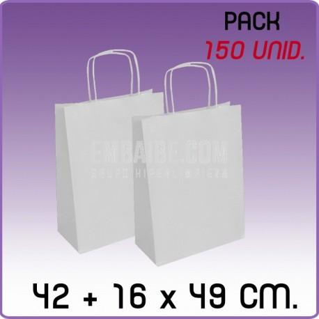 150 Bolsas papel regalo blanco 42+16x49cm