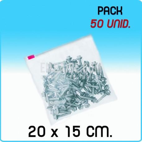50 Bolsas polietileno con cierre cursor 20x15 cm