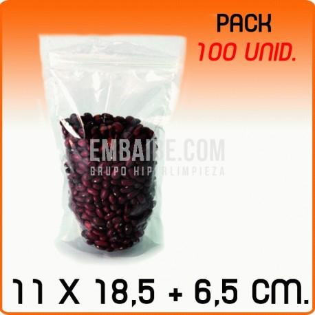 100 Bolsas polipropileno autocierre con base 11x18,5+6,5cm