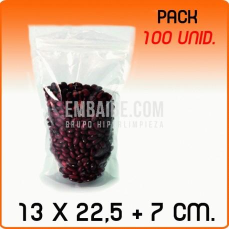 100 Bolsas polipropileno autocierre con base 13x22,5+7cm