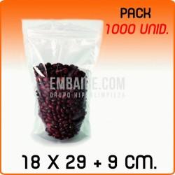 1000 Bolsas polipropileno autocierre con base 18x29+9cm