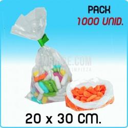 1000 Bolsas polietileno transparente medida 20x30 cm