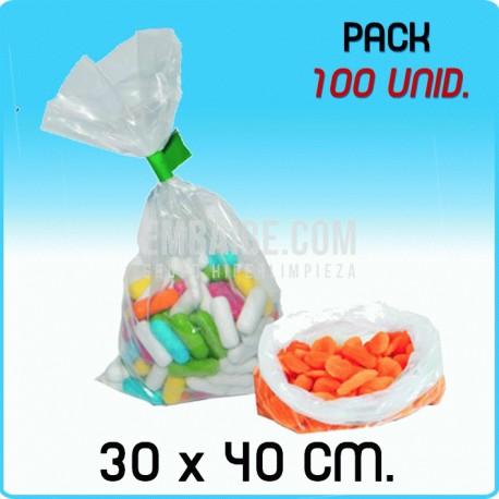 100 Bolsas polietileno transparente 30X40 cm