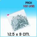 100 Bolsas polietileno con cierre cursor 12,5x9 cm
