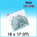 100 Bolsas polietileno con cierre cursor 18x17 cm