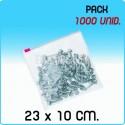 1000 Bolsas polietileno con cierre cursor 23x10 cm