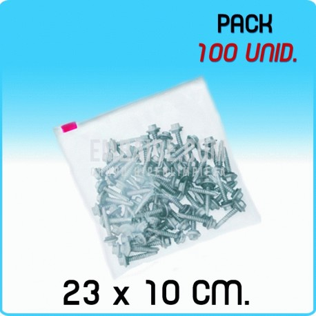100 Bolsas polietileno con cierre cursor 23x10 cm 1000 Unidades