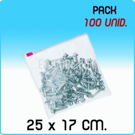 100 Bolsas polietileno con cierre cursor 25x17 cm