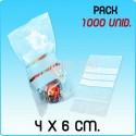 1000 Sacos auto fecho com banda para escrita 4x6 cm